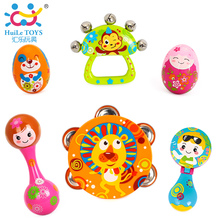 Free Shipping Children Musical Instruments Toy Set Timbrel Maracas Sand Eggs Shaker Hand Bells Bell Drum Baby Rattle(China)