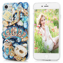 Bling Rhinestone Case For iPhone 7 Luxury 3D Handmade Diamond Glitter Crystal Hard PC Clear Back Cover For iPhone 7 4.7 inch