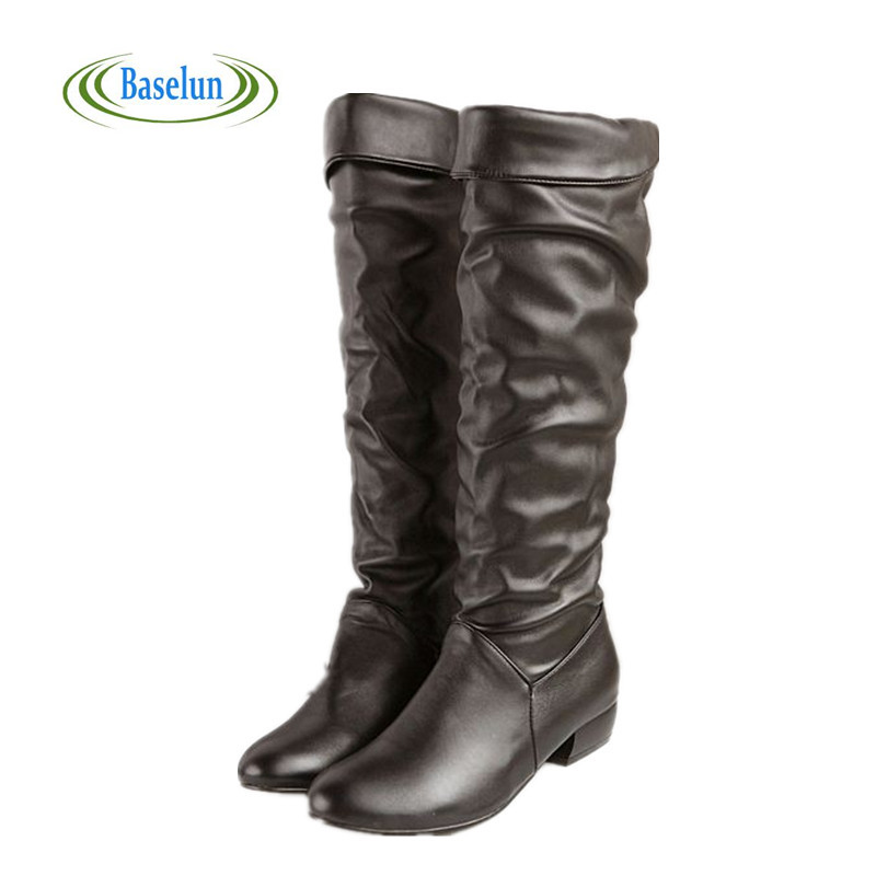 Fashion New Arrival Winter Mid-calf Women Boots Black White Brown Flats Heels Half Boots Autumn Snow Shoes Plus Size 43<br><br>Aliexpress