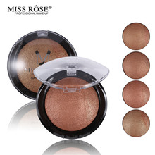 1PC Women Hot Sale Bronzer Blush Palette Face Makeup Baked Cheek Color Blusher Professional paleta de blush from Miss Rose Brand(China)