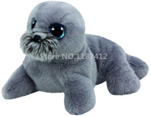 Classic Cute Stuffed Animal Big Eyes Wiggy Grey Sea Lion Plush Animals Medium 27cm Beanie Baby Kids Toys for Children Gifts