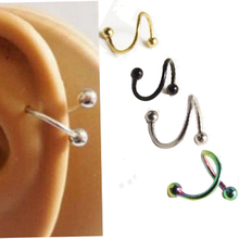 2pcs Free Shipping S Labret Ring surgical Stainless Steel Bar Spiral Twister Tragus Ear Piercing Helix ring Body Jewelry