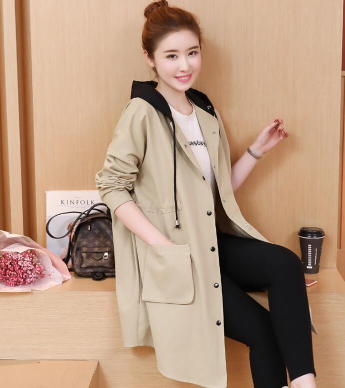 2018 Spring new long hooded jacket pocket loose pregnant women trench coat 7717<br>