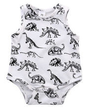 summer romper 2017 wholesale dropshipping infant baby girl boy clothes dinosaurs printed sleeveless romper cotton outfits US AU