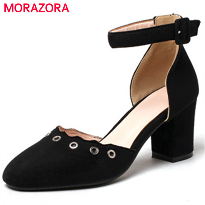 MORAZORA Shallow square toe party shoes summer flock buckle high heels shoes fashion elegant women pumps large size 34-43<br>