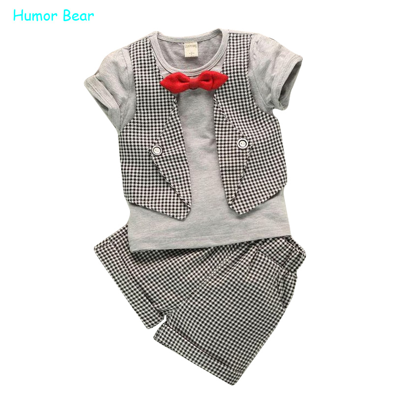 Humor Bear Fashion Fake Two Children Lattice Gentleman Serving Baby Boys Summer Short-Sleeved Suit Pants 2Pc/ Sets