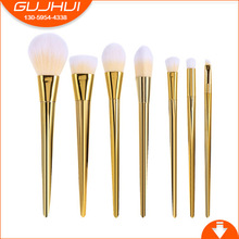 GJH 7 Makeup Brushes, Brush Sets, Metal Powder Brush, Eye Shadow Brush, Gold, GUJHUI Manufacturing(China)