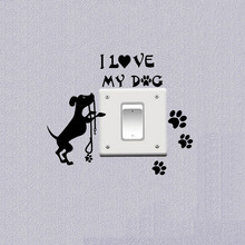 Pet Dog Wall Decals Animal Paws Switch Stickers Grooming Art Vinyl Bedroom Decor A3158(China)