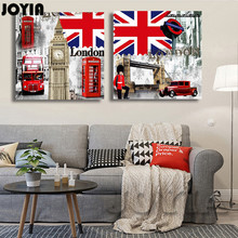 Classic Decor Picture British Style Street Scenery 2 Piece London Features Paintings Core Wall Art Printed On Canvas No Frame