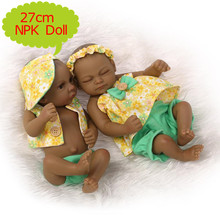 NPK 27cm Reborn Doll Full Silicone Small Black Boy/Girl Doll In Summer Season Clothes Bebes Play House Boneca Toys For Kids Gift(China)