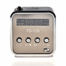 kebiduPortable TD-V26 Mini Portable Aluminum Alloy USB Speaker Sound Stereo FM Radio Support TF/SD Card Amplifier Box Black(China)