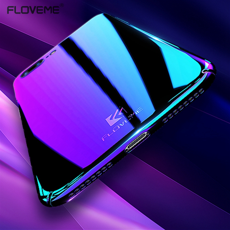 FLOVEME Luxury Blue Light Ray Case For iPhone 6 6s 7 Plus Ultra Thin Hard Cover Coque For iPhone 7 6 6s Plus Mirror Phone Cases(China (Mainland))