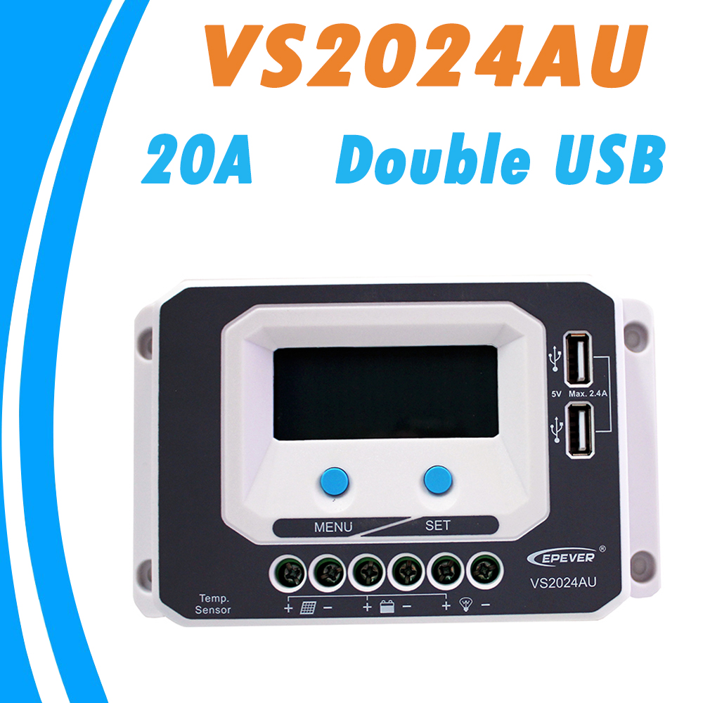 EPever PWM Solar Charge Controller 20A 12V 24V Auto Work Double USB Output Common Positive Grounding for Max 50V Solar Panel<br>