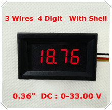 "RD 4 Digit 0.36"" Digital Voltmeter with shell 0-33.00V Three wires Voltage Panel Meter Display LED Color 4 pieces / lot](China)"