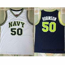 The Admiral David Robinson Navy Stitched Basketball Jersey Sewn Camisa Embroidery Logos