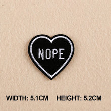 1PC Patches For Clothing Black Nope Heart Patches For Apparel Bags DIY Accessories