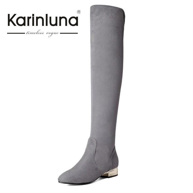 KarinLuna Brand New Big Size 34-43 Women Boots Sexy Low Square Heels Slip On Woman Shoes Long Boots For Party<br>