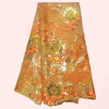Amazing orange flower embroidery French nylon net lace fabric with sequins for dress AN11-3 African mesh organza lace cloth