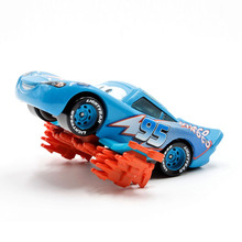 Disney Pixar Cars Blue Dinoco Lightning Mcqueen With Flames 1:55 Scale Diecast Metal Alloy Cute Toys For Children Gifts