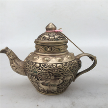 antique antiques chinses copper Carve  tea pot