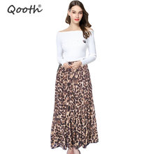 Hot Selling Fashion Women's Summer Beach Leopard Casual Chiffon Max Skirt Pleated Long Skirt DF650(China)