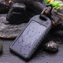 Solar Charger 5000mAh Portable Solar Power Bank Waterproof/Shockproof/Dustproof Dual USB Battery Bank for cell phone