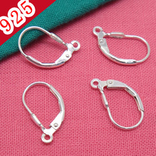 Wholesale-Min10piece,925 Sterling Silver!!! 11.6*9.5mm Lever-back Earring Hook with inner 1.5mm Hoop Jewelry Parts and Settings