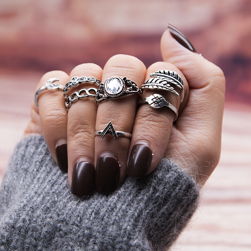 925 Sterling Silver Feather//Leaf Midi Knuckle Rings Finger Jewelry Open Adjustable Size for Girls Women
