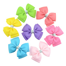 20pcs/lot Kids Silver Ribbon Barrettes Clips Boutique Girl Shining Bling Hair Bows Hairpins Handmade Hair Accessories 735(China)