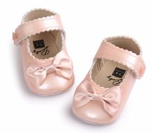 ROMIRUS cute Bow Toddler First Walkers Pu leather Baby moccasins shoes first walker Ballet Dress Princess Shoes Soft Soled(China)