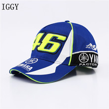 IGGY High Quality MOTO GP 46 Motorcycle 3D Embroidered F1 Racing Cap Men Women Snapback Caps Rossi VR46 Baseball Cap YMH Hats