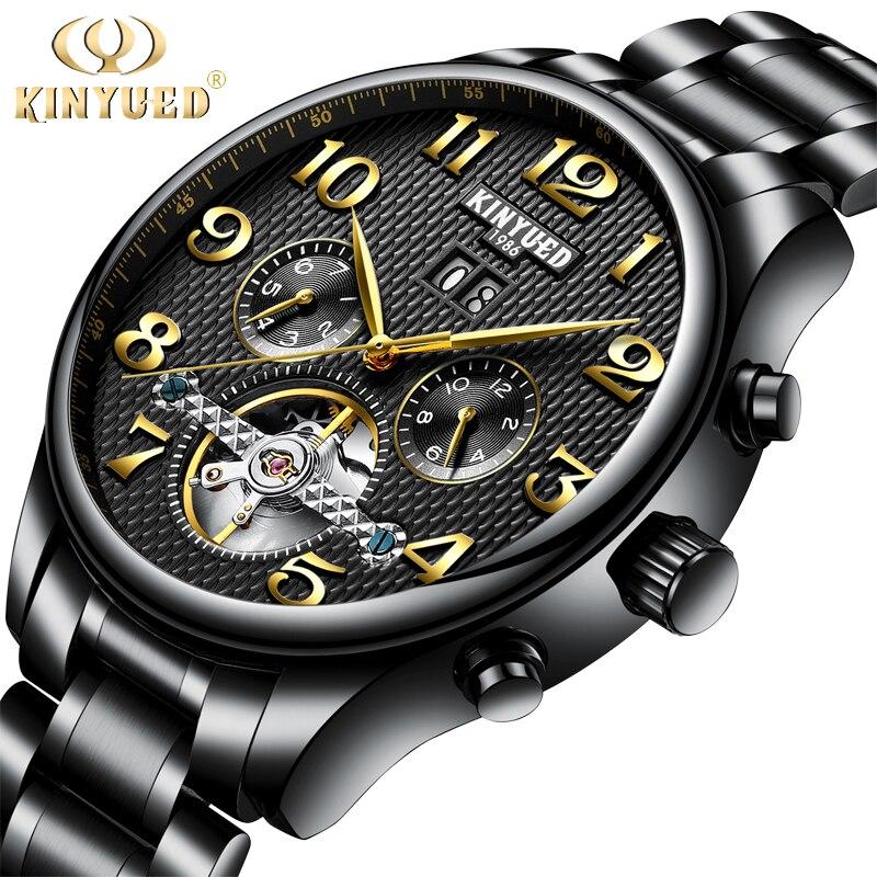 KINYUED Mechanical Watch Men Skeleton Automatic Steampunk Steel Mens Watches Top Brand Luxury Self-wind Wristwatch Montre Homme<br>