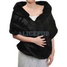 Winter Black Faux Fur Wedding Bridal Wrap Bridesmaid Evening Shawl Stole Bolero w/ Collar Women's Accessory One Size PJ160003