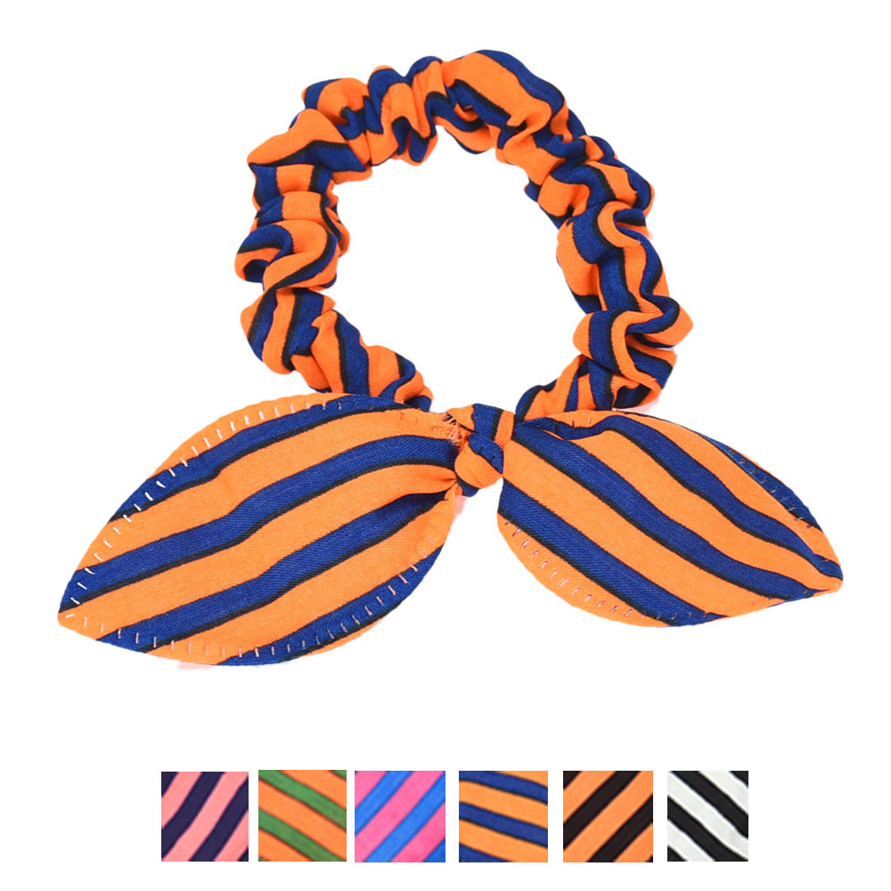 2017 New Fashion Small Rabbit Ear Hair Scrunchies Stripes Dots Lovely Colors Knot Headband Bow for Girls Head Shipping&Wholesale(China (Mainland))