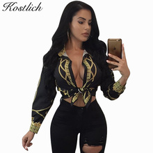 Kostlich White Black Chain Printed Blouse Shirt Women 2017 Autumn Vintage Long Sleeve Causal Women Tops Bow Tie Clubwear Blouses(China)