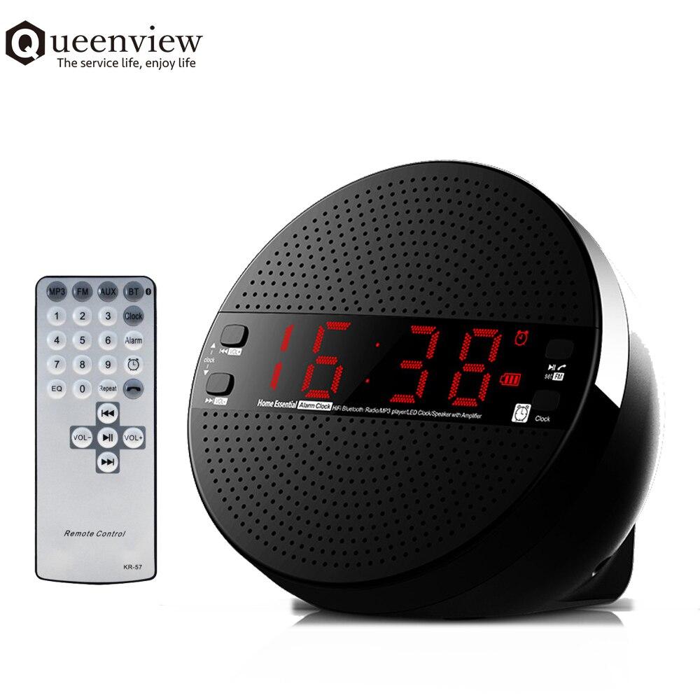 Wireless Bluetooth Speaker Usb Pengisian Port Charger Fm Desktop Alarm Clock Jam Meja Queenview Pembicara Subwoofer Stereo Nirkabel Musik Pemutar Pengeras Suara Dengan Jarak Jauh Pengendali