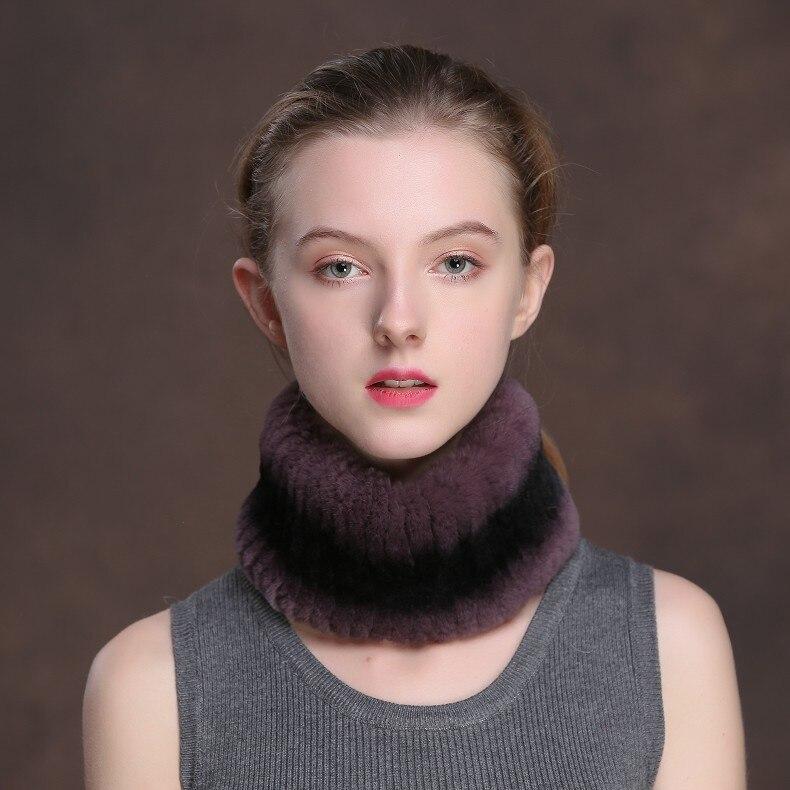 Winter Fur Headbands For Women Knitted Rex Rabbit Fur Scarf Hats Natural Fur Ring hairband Neckwarmer female (17)