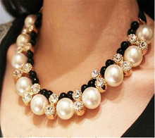 New Design Lace Chain Choker Necklace Hi-end Vivi big imitation pearl rhinestone necklace for Women(China)