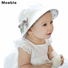 Moeble Toddler Hat Infant Baby Girls Floral Bowknot Bucket Hat Two Sided Cotton Beach Cap Summer Outdoor Sunshade Bucket Hats