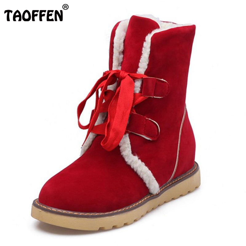 TAOFFEN Size 34-43 WomenS Winter Snow Boots Female Warm Fur Inside Mid Calf Winter Botas Women Lace Up Thick Platform Shoes <br>