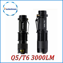 Mini Cree xml t6 q5 flashlight powerful Zoomable Tactical Flashlight waterproof led torch lanterna flash max 3000 lumens 40