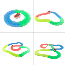 165/220Pcs Race Track Magic Tracks Bend Flex With Led Car Glow in the Dark Assembly Toy Children DIY train toys for Christmas