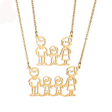 Son And Parents Necklace Pendant Stainless Steel Gold Boys and Mom Dad Necklace Pendant Family Gift(China)