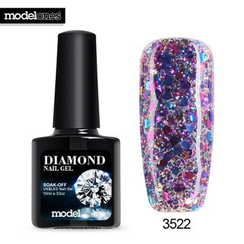 Modelones Professional UV Gelpolish Diamond Glitter UV Nail Polish Nail Art Manicure UV Nail Gel Polish Soak Off Sequins Gel