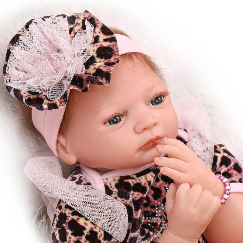 22 inch 55 cm baby reborn Silicone dolls, lifelike doll reborn babies for Childrens toys  Leopard princess dress fashion doll<br><br>Aliexpress