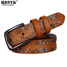 Famous Name Brand Women Cowhide Belt Handmade Rivet Women Genuine Leather Designer Belts As Gift free shipping(China)
