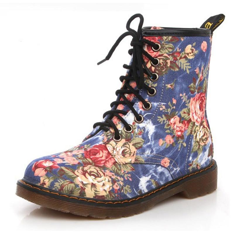 ZCHEKHEN Fashion Women Floral Printed Martin Boots Soft Sole Ankle Boots Lace Up Platform Shoes Woman Boots Size 35-40<br><br>Aliexpress
