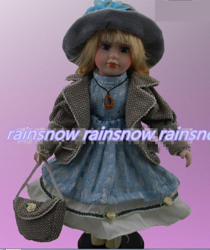 40cm porcelain blue dress girl doll European rural Field Village ceramic doll leisure style girl gift home decoration<br><br>Aliexpress