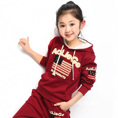Free shipping children clothing spring/autumn  girl fashion sports set hooded sweater+pants girl suit<br>