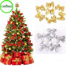 222# 12x Bow Christmas Tree Decoration Xmas Ornament Bowknot Party Home Wedding Decor(China)